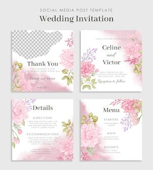 Modello di post sui social media di bel matrimonio floreale