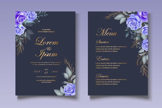 Modello di set di carte di nozze con bella corona floreale