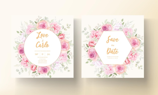Modello di carta di invito matrimonio bella corona floreale