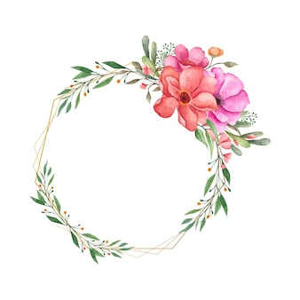 Bella ghirlanda floreale con cornice poligonale dorata