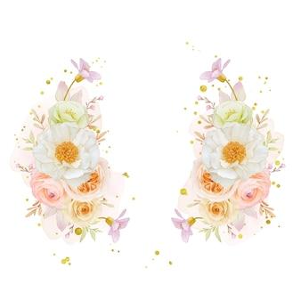 Bella ghirlanda floreale con rose dell'acquerello peonia e fiore di ranuncolo