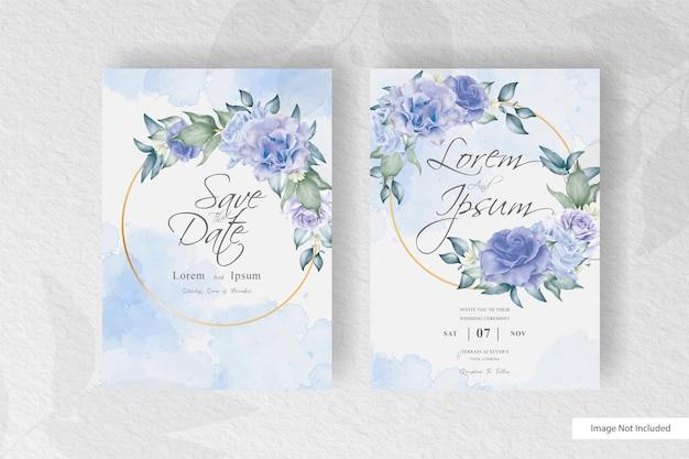 Bella ghirlanda floreale con modello di carta di invito matrimonio splash acquerello
