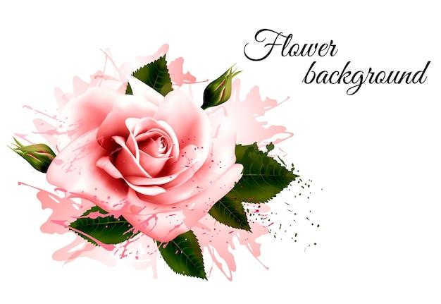Bellissimo sfondo di fiori con una rosa rosa. vettore.