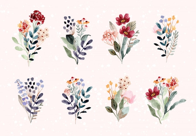 Collezione acquerello bellissimo bouquet di fiori