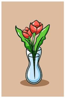Una bella illustrazione di cartone animato vaso di fiori