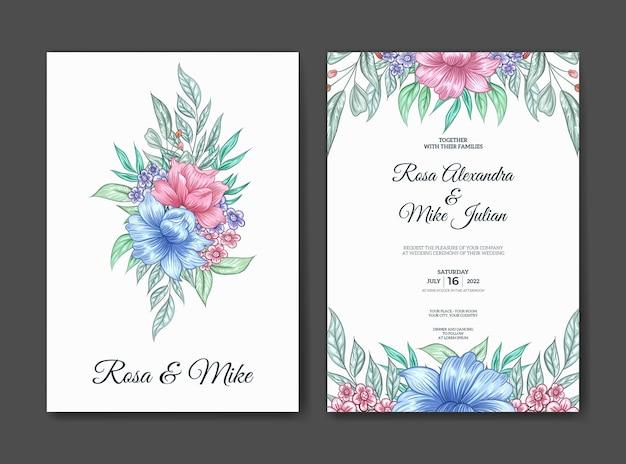 Modello dell'invito di nozze dell'acquerello del bel fiore