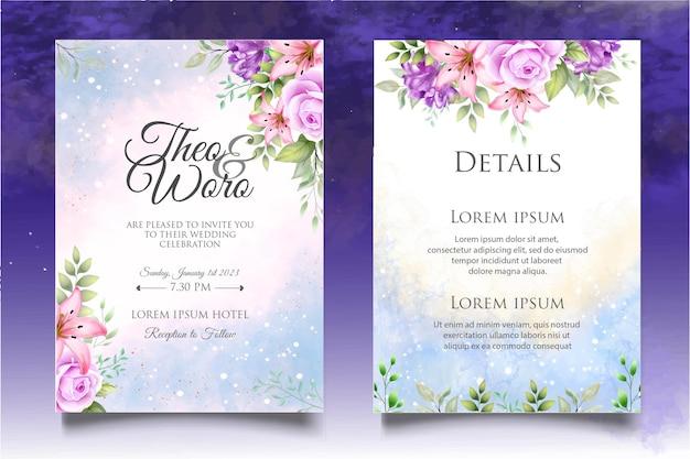 Set di carte invito matrimonio bellissimo fiore