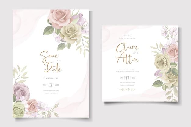 Modello di biglietto d'invito per matrimonio bellissimo fiore