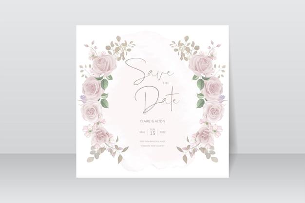Modello di biglietto d'invito per matrimonio bellissimo fiore Vettore Premium