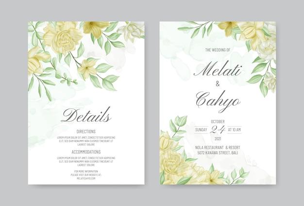 Bellissimo modello di invito a nozze con fiori