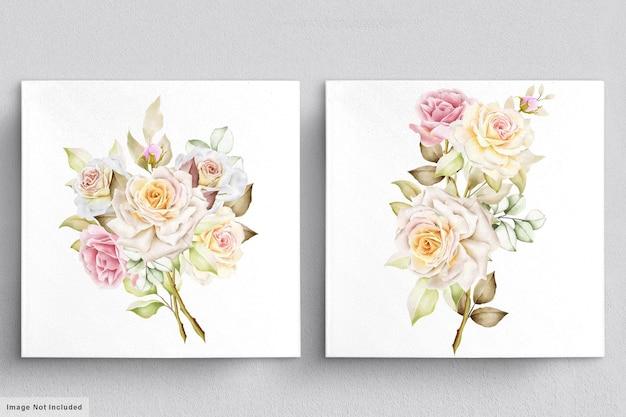 Insieme dell'acquerello di mazzi di fiori bellissimi