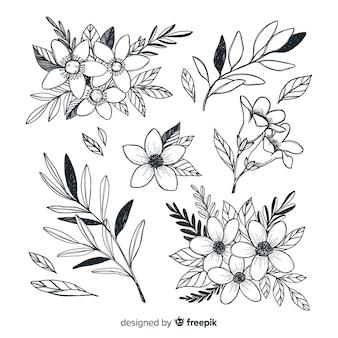 Collezione di bellissimi fiori stile disegnato a mano Vettore Premium