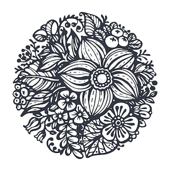 Bellissimi fiori e piante nel cerchio. disegnato a mano in stile schizzo