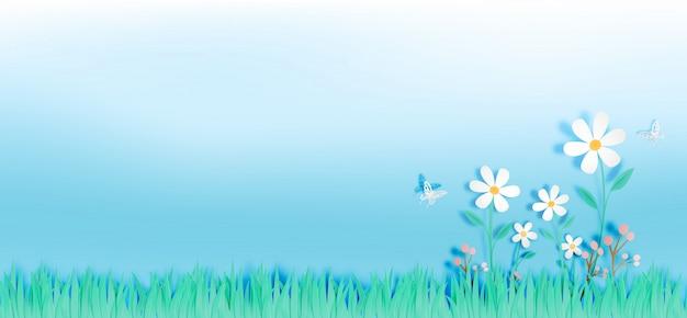 Bei fiori con il campo di erba nell'illustrazione di vettore di stile di arte di carta