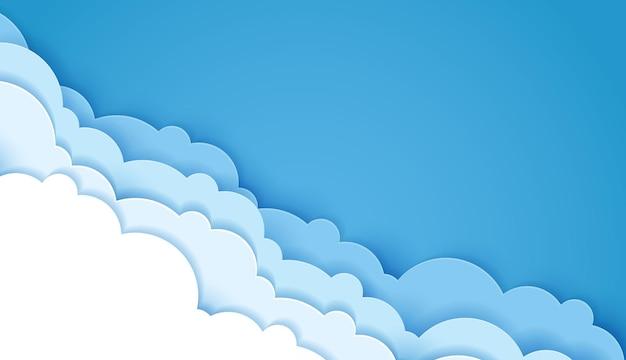 Belle soffici nuvole blu carta tagliata in stile artistico. posto per il testo. disegno vettoriale.