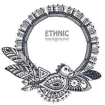 Bella cornice con elementi etnici disegnati a mano, uccelli, frecce, piume.