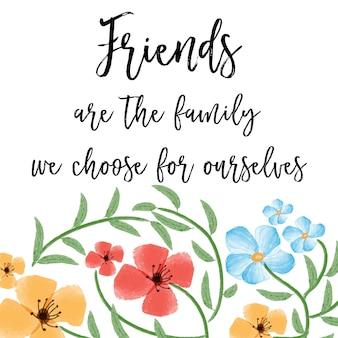 Bella citazione di amicizia con sfondo acquerello floreale