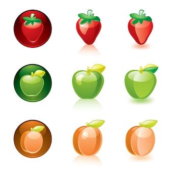 Progettazione dei pulsanti delle icone di bei frutti