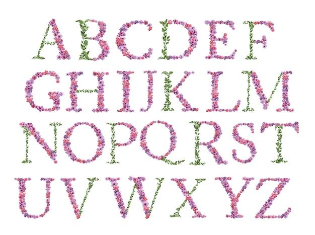 Alfabeto dell'acquerello bellissimo fiore pieno