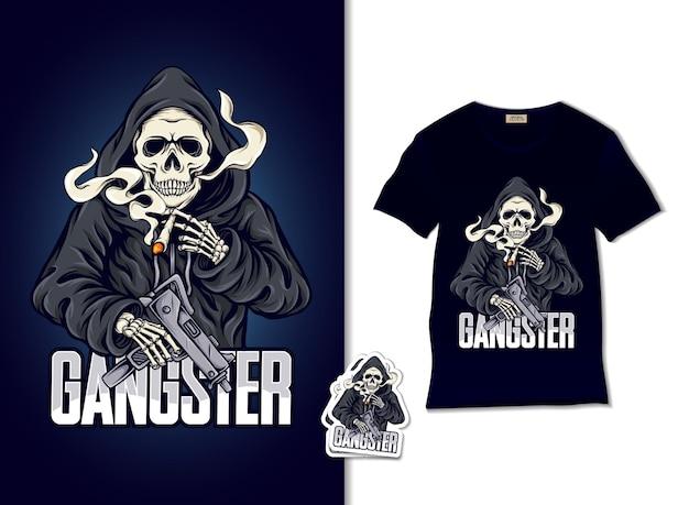 Bellissimo teschio di gangster con illustrazione di pistola
