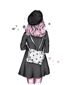 Bella ragazza in berretto e cappotto