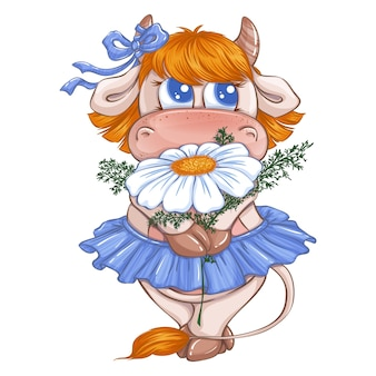 Una bella ragazza di vitello con una gonna blu e un fiocco tiene in mano una grande margherita bianca.