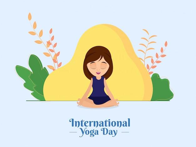 Bella ragazza che medita in lotus pose con la vista astratta della natura per il giorno internazionale di yoga.