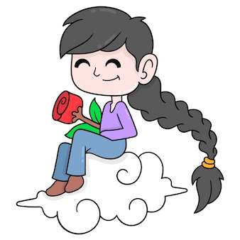 Bella ragazza seduta sulla nuvola che porta una rosa rossa, illustrazione arte vettoriale. scarabocchiare icona immagine kawaii.