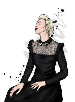 Una bella ragazza in abiti eleganti.