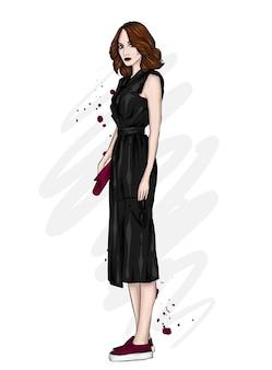 Bella ragazza in abito elegante, moda e stile