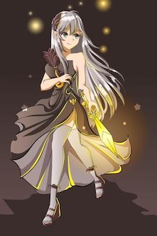 Bella ragazza con il vestito nero e l'illustrazione del fumetto del gioco del personaggio di design della spada