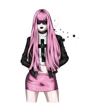 Bella ragazza con capelli lunghi in occhiali e vestiti alla moda