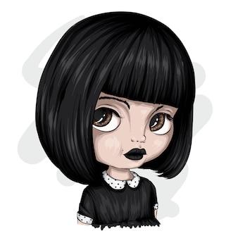 Bella ragazza con un taglio di capelli corto. un bambino carino. illustrazione vettoriale per una cartolina o un poster, stampa sui vestiti. moda e stile, accessori.