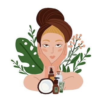 Bella ragazza con cosmetici naturali asciugamano e cocco, piante e fiori sullo sfondo. illustrazione piatta.