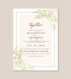 Bellissimo invito a nozze floreale oro Vettore Premium