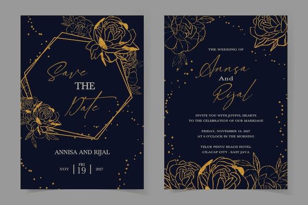 Bellissimo modello di invito a nozze floreale dorato impostato con sfondo acquerello blu