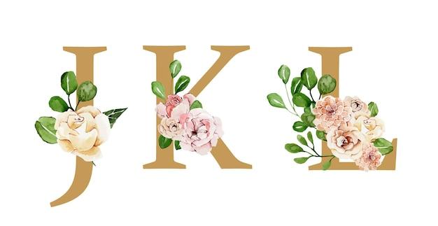Lettere di bella vacanza d'oro decorate con fiori ad acquerelli