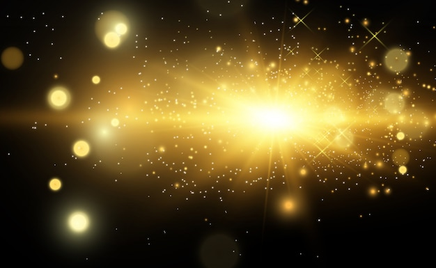 Bella illustrazione vettoriale d'oro di una stella su uno sfondo traslucido con polvere d'oro e luccica. una magnifica base di luce per il tuo.