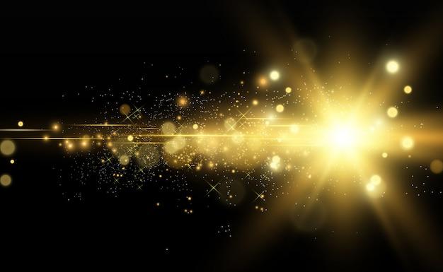 Bella illustrazione vettoriale d'oro di una stella su uno sfondo traslucido con polvere d'oro e luccica.