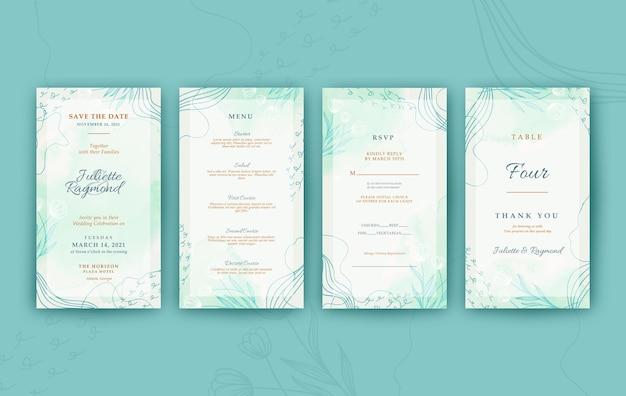 Bellissimo invito a nozze digitale verde