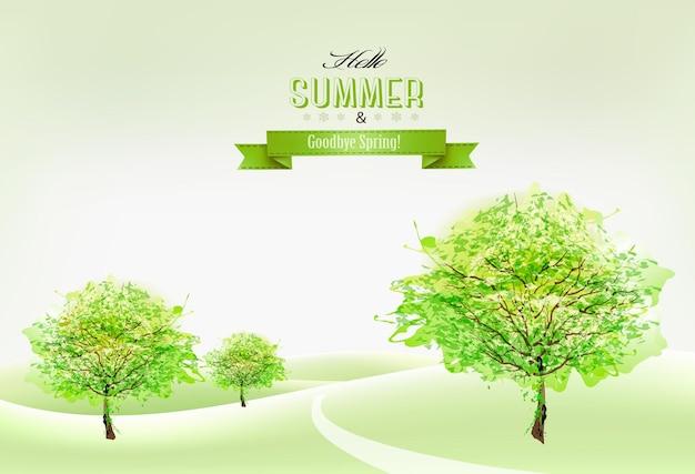Priorità bassa della natura di bella estate verde. vettore.