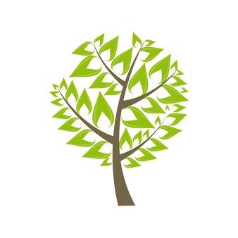 Bella icona verde dell'albero su un'illustrazione bianca di vettore del fondo. eps10