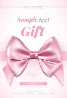 Bellissimo biglietto di auguri con fiocco rosa su bianco