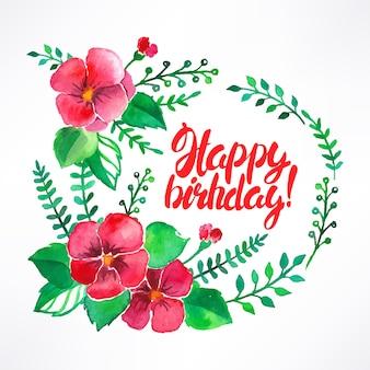 Bellissimo biglietto di auguri con fiori ad acquerello e congratulazioni per il compleanno