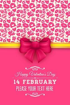 Bellissimi biglietti di auguri con fiocchi rossi per san valentino