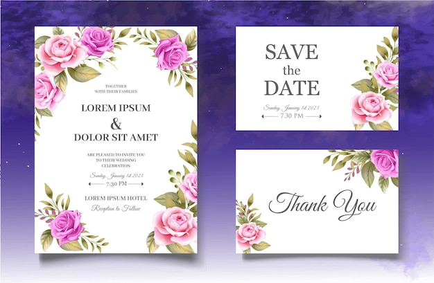 Bella mano disegno modello di carta di invito matrimonio floreale