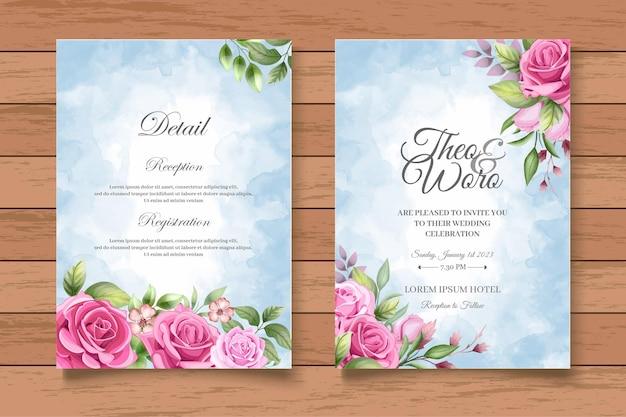 Biglietto d'invito per matrimonio floreale con bellissimo disegno a mano