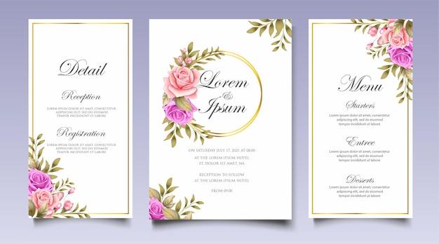 Bella mano disegno modello di invito matrimonio floreale Vettore Premium
