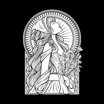 Bella mano disegno lineart disegno di donna in bianco e nero