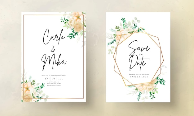 Bellissimo disegno a mano modello di invito a nozze floreale morbido